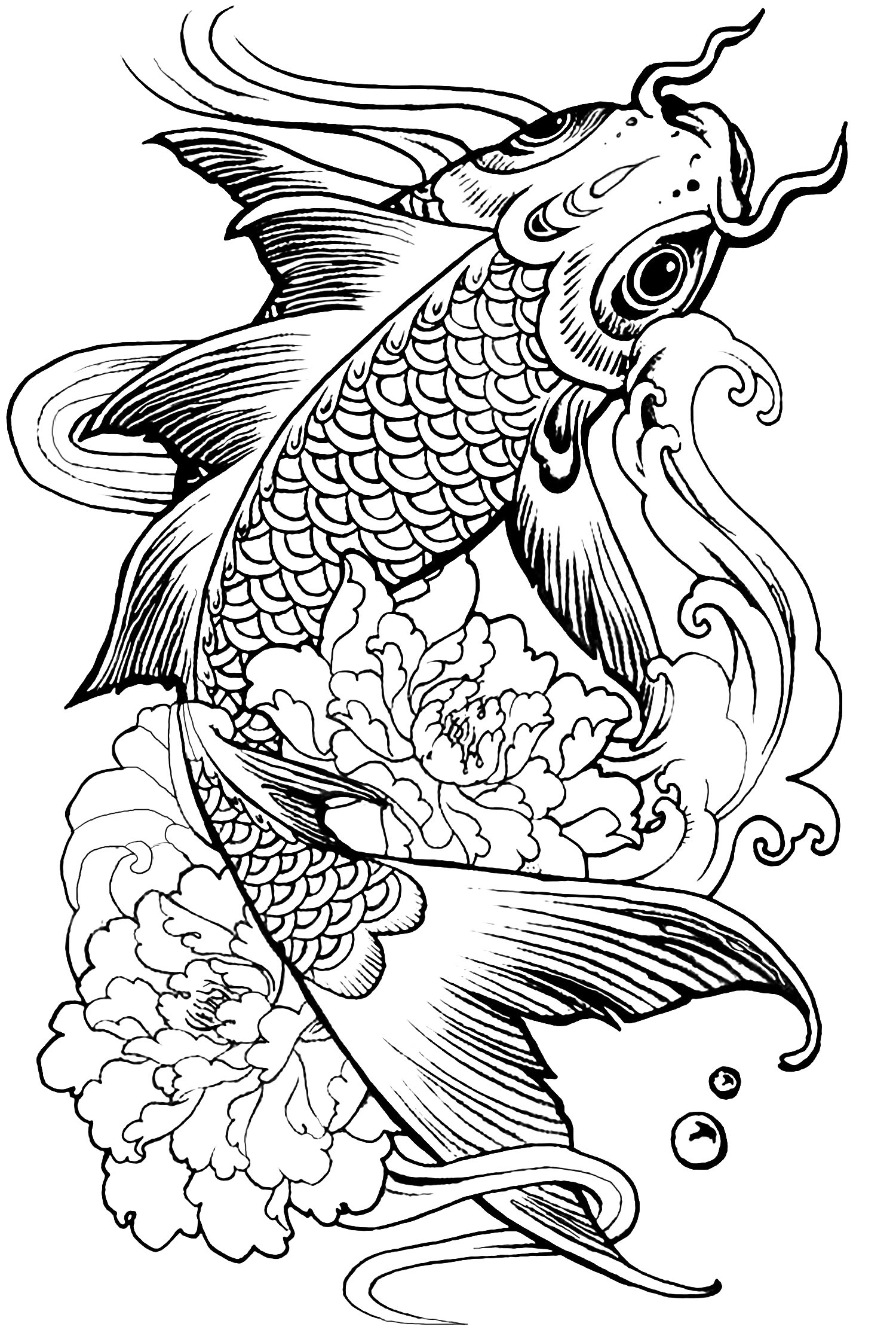 Fish carp - Animals Coloring pages - 100% Mandalas Zen & Anti-stress