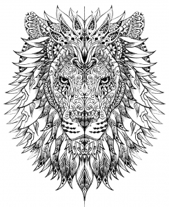 coloring-page-lion-head