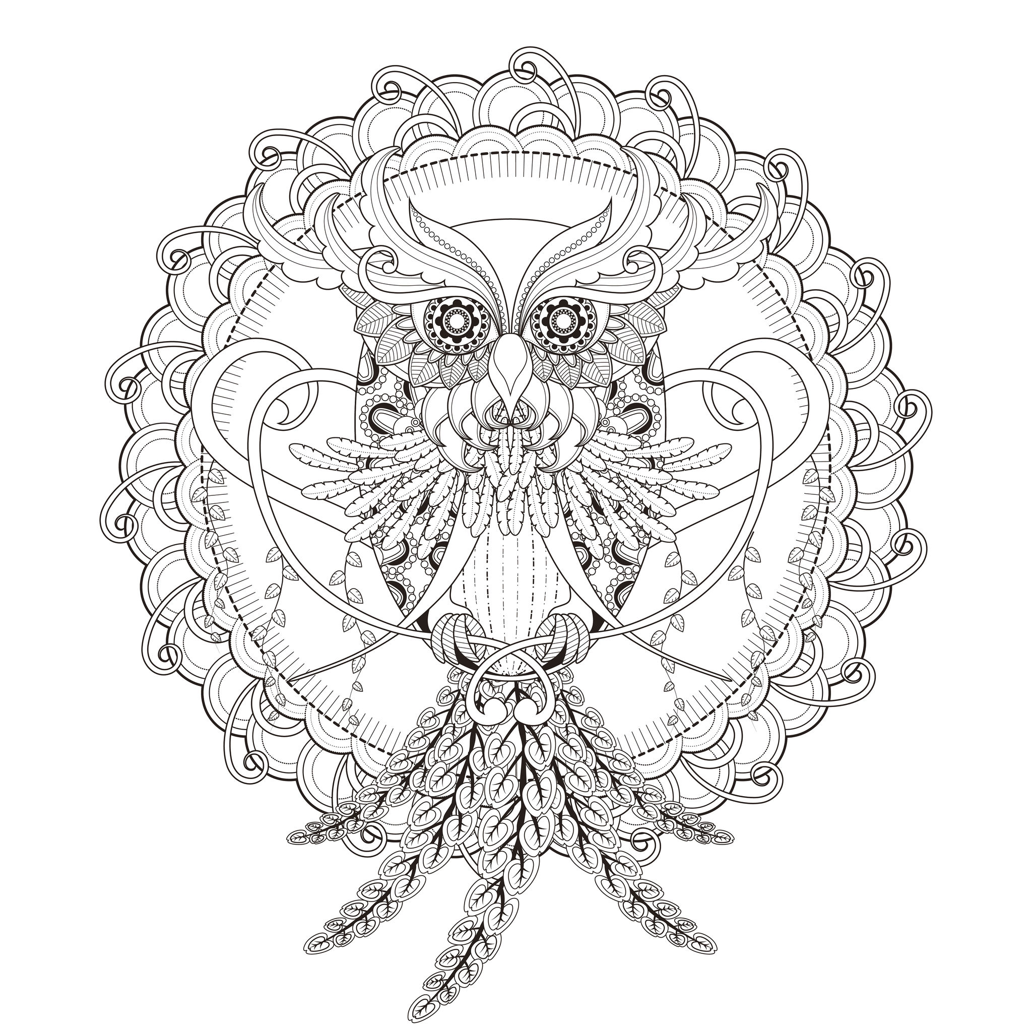 A beautiful Mandala coloring page, of great quality and originality. It's up to you to choose the most appropriate colors to give life to this superb owl. You must clear your mind and allow yourself to forget all your worries and responsibilities.