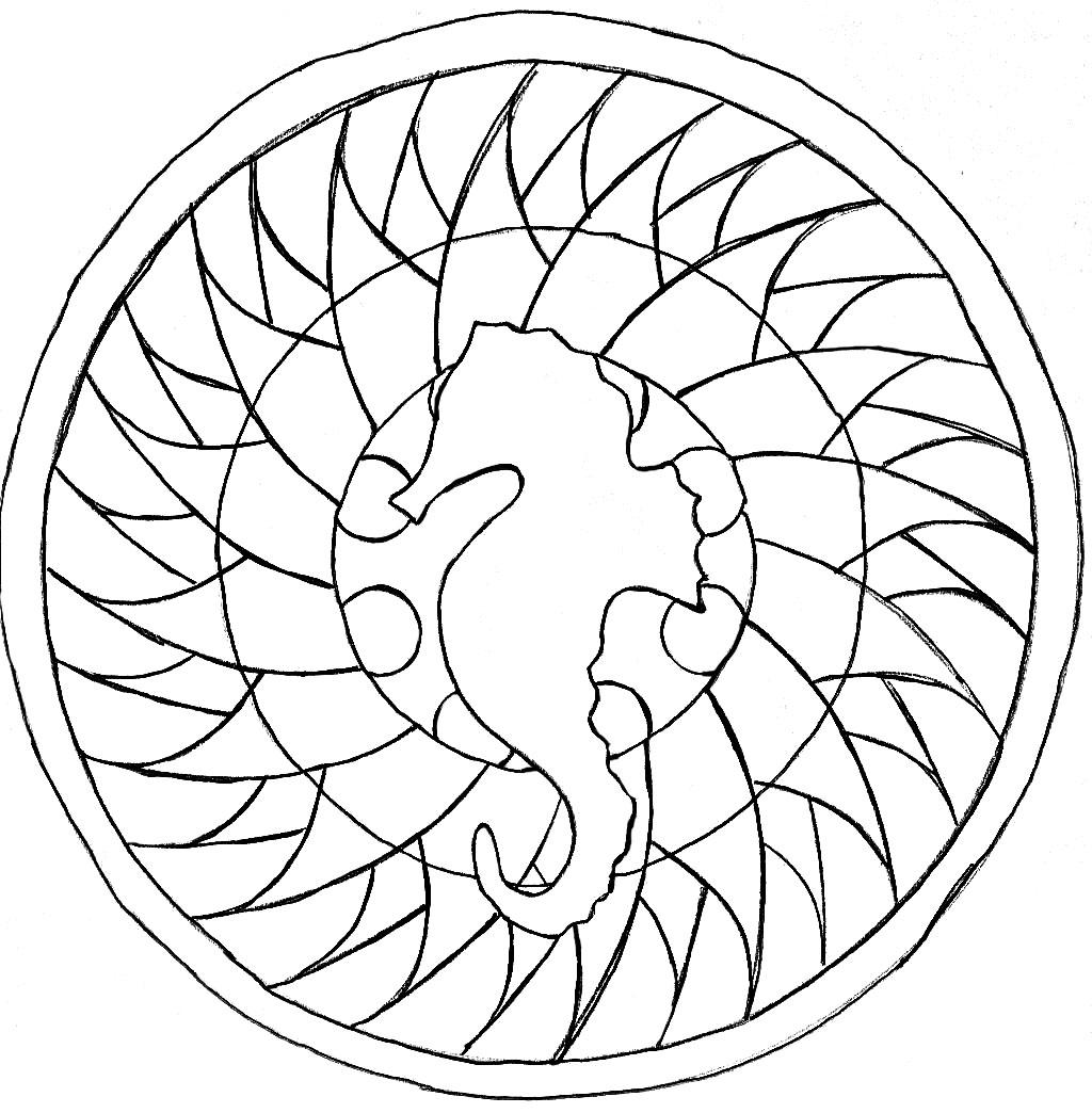 Sea Horse Mandala (hand drawn)