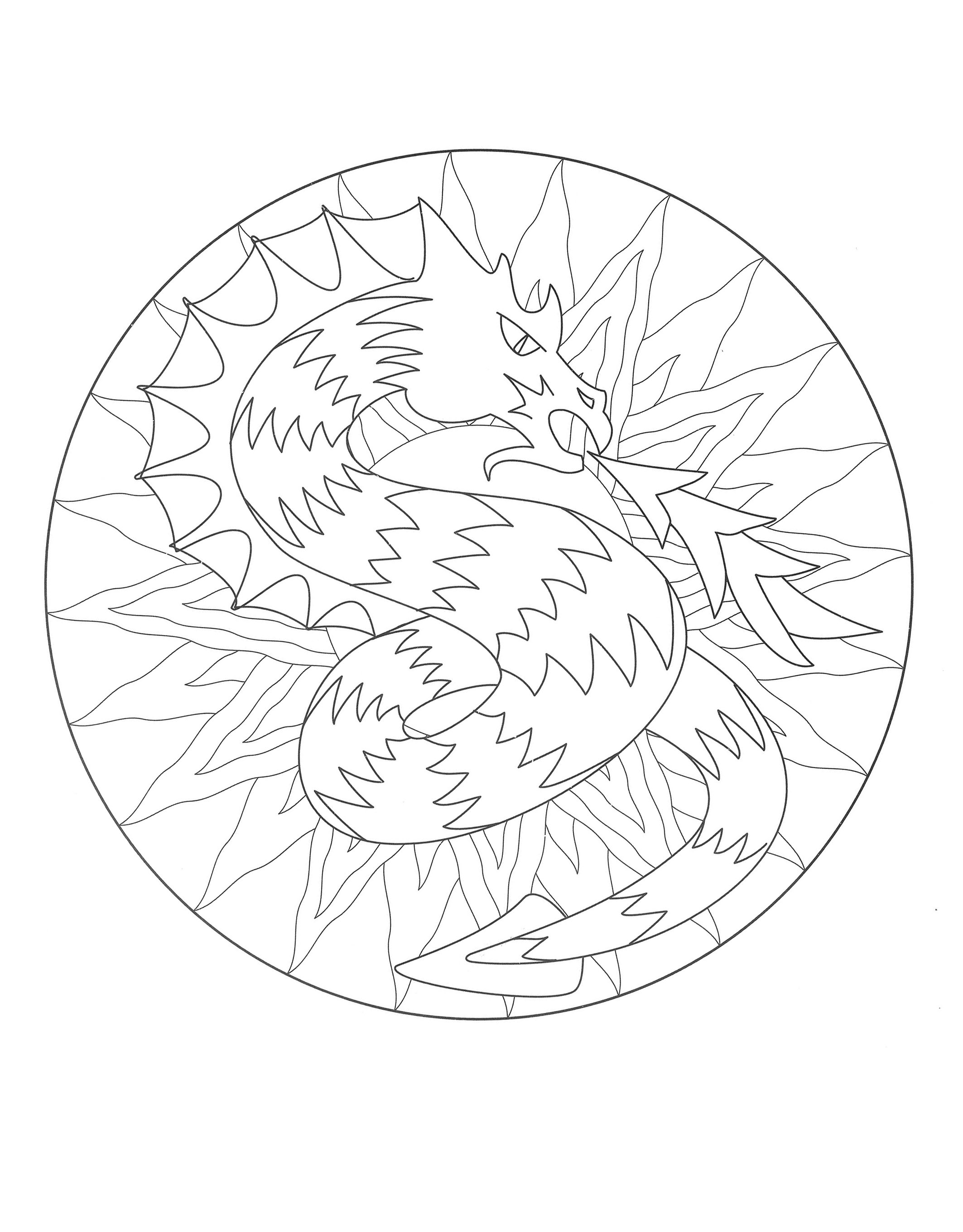 Coloring to print mandala dragon 3