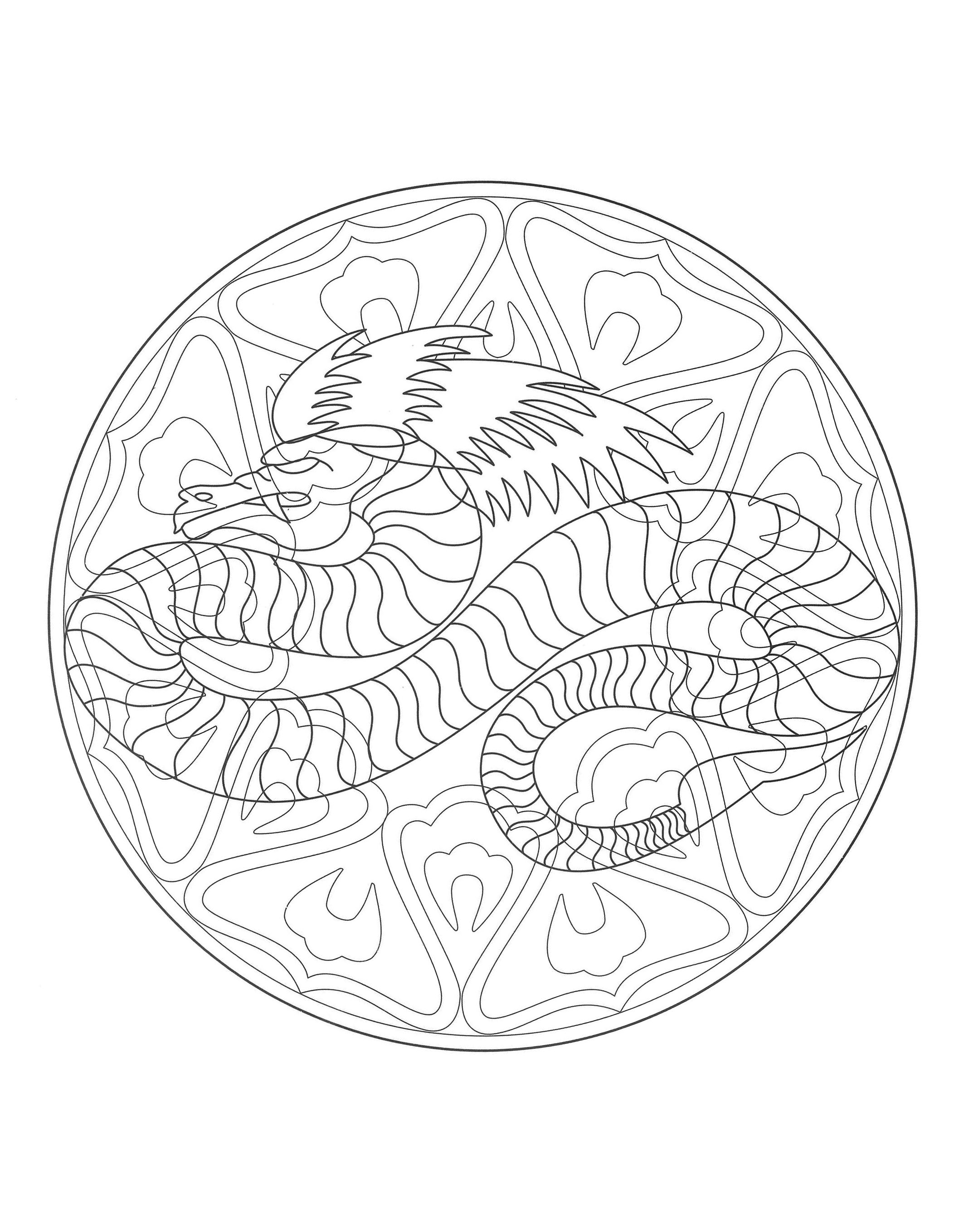Coloring to print mandala dragon 4