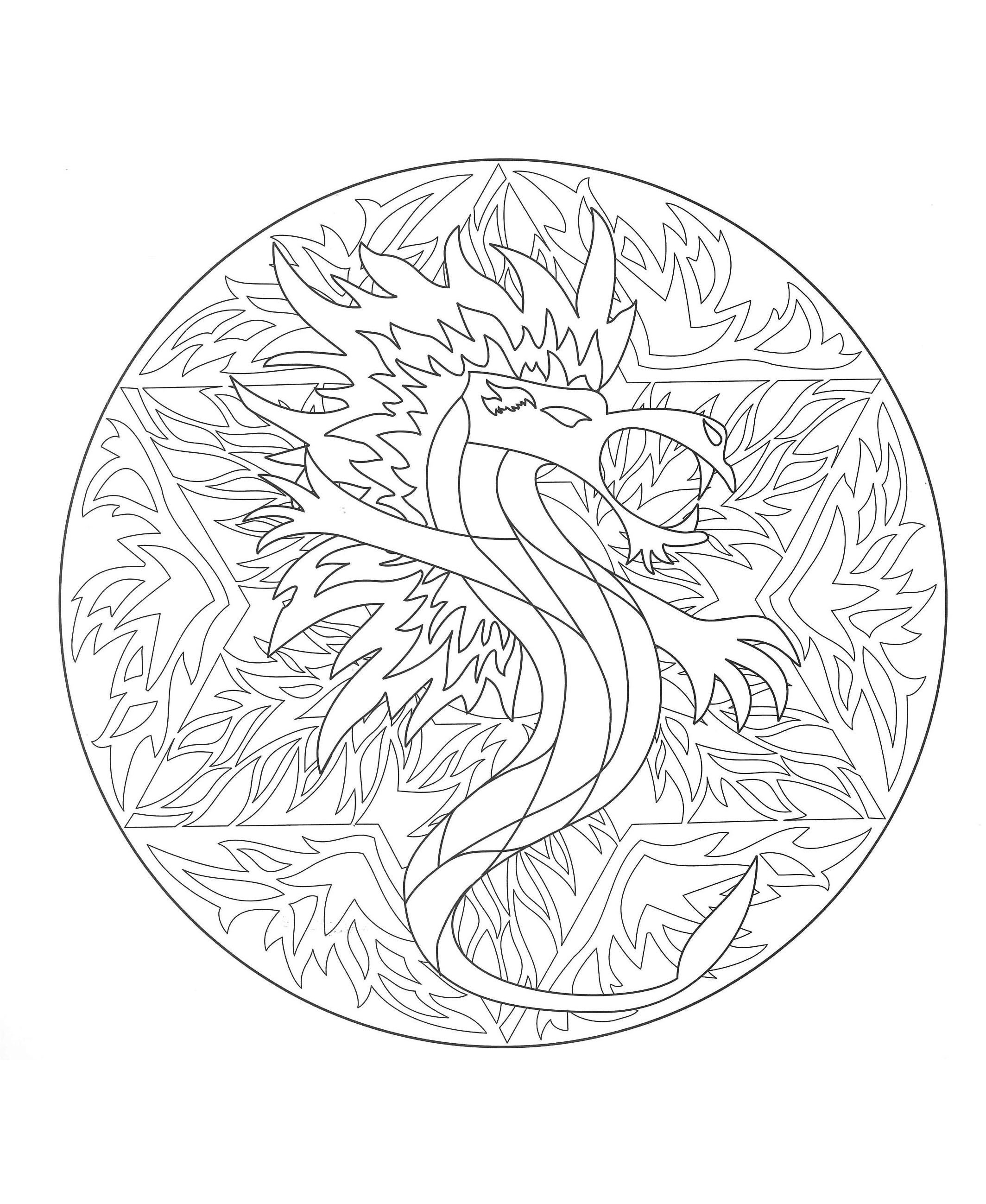 Coloring to print mandala dragon 5