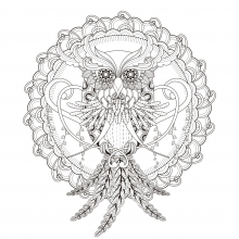 Beautiful-Owl-in-a-Mandala-by-kchung free to print