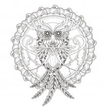 Beautiful-Owl-in-a-Mandala-by-kchung free to print