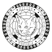 coloriage-adulte-mandala-chat-par-allan free to print