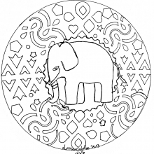 mandala to print elephant