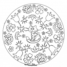 mandala-to-print-little-cat-and-flowers free to print