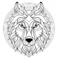 Mandala wolf head 1