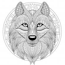 Mandala wolf head 2