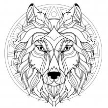 Mandala wolf head 3