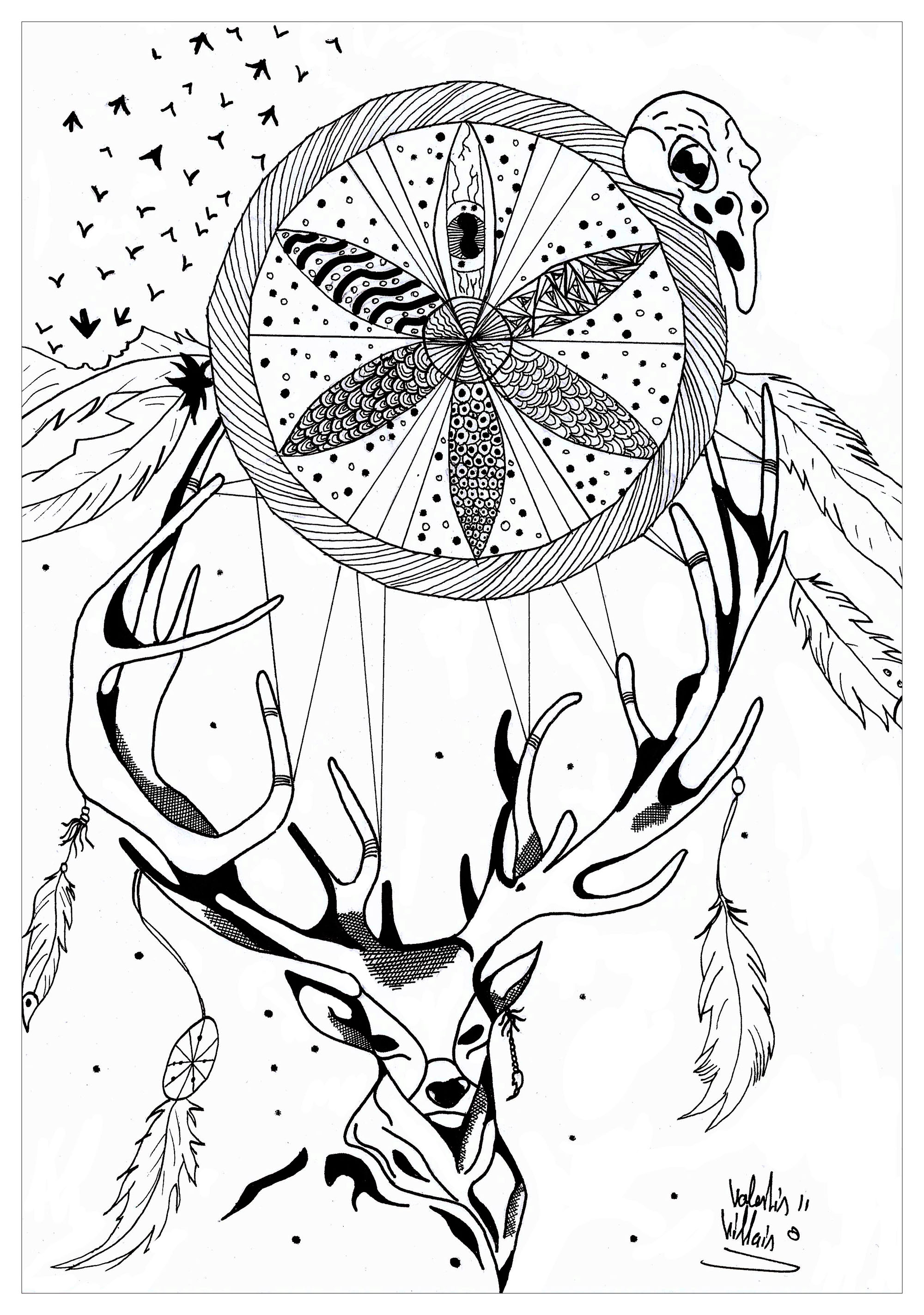 Deer dreamcatcher, with Mandala