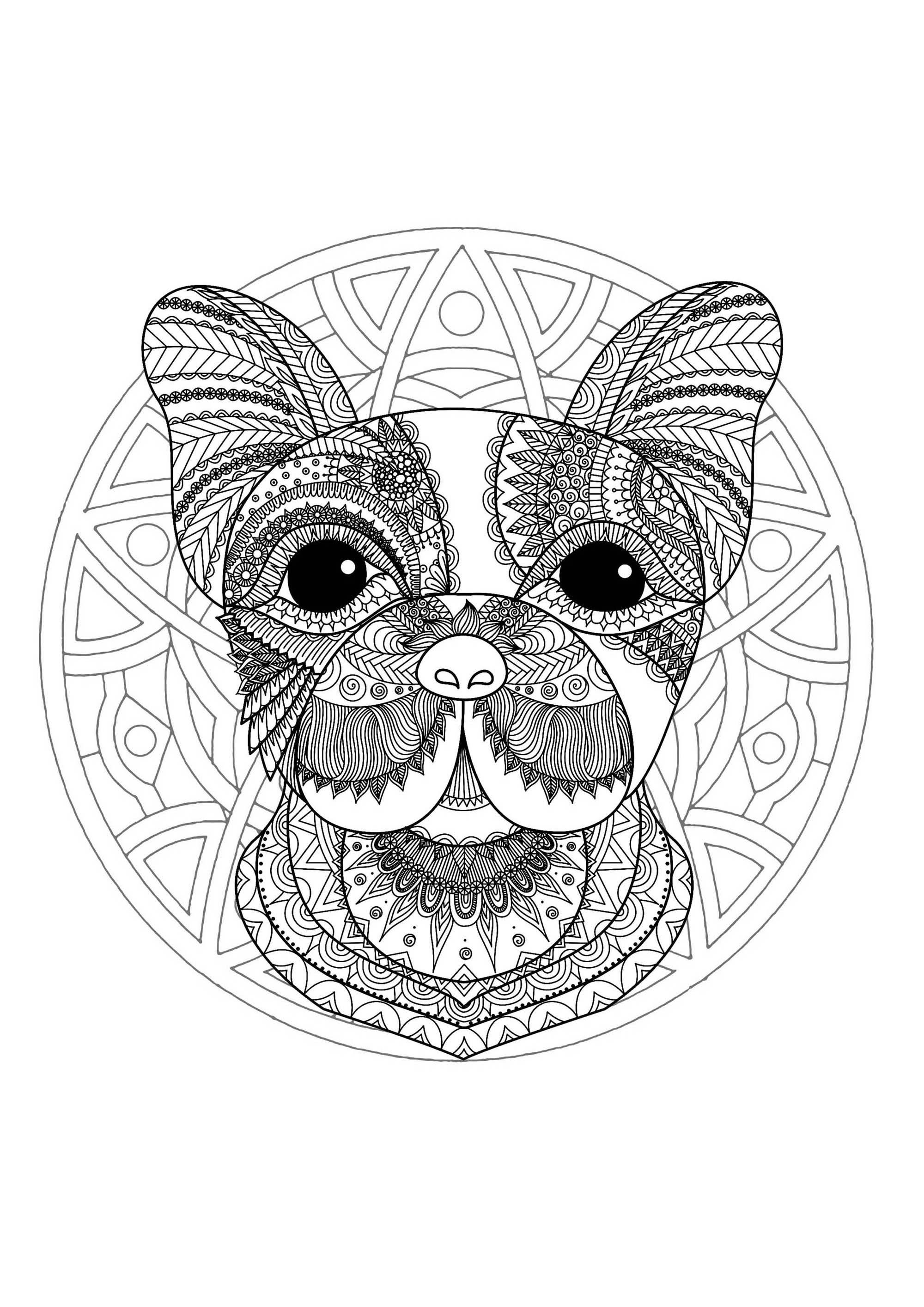 Simple Dog Head Mandala Mandalas With Animals 100