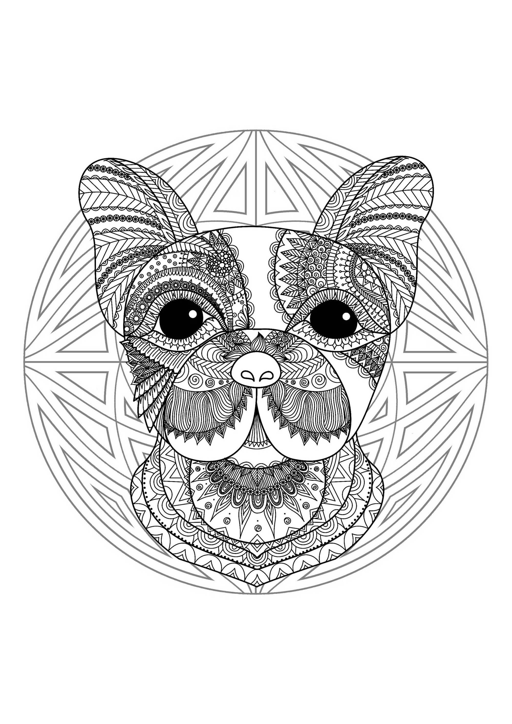 Cute dog head Mandala - Mandalas with animals - 100% ...