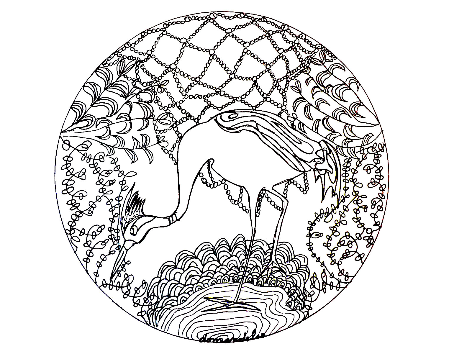 The Heron : a beautiful Mandala coloring page, of great quality and originality. It's up to you to choose the most appropriate colors. You must clear your mind and allow yourself to forget all your worries and responsibilities.
