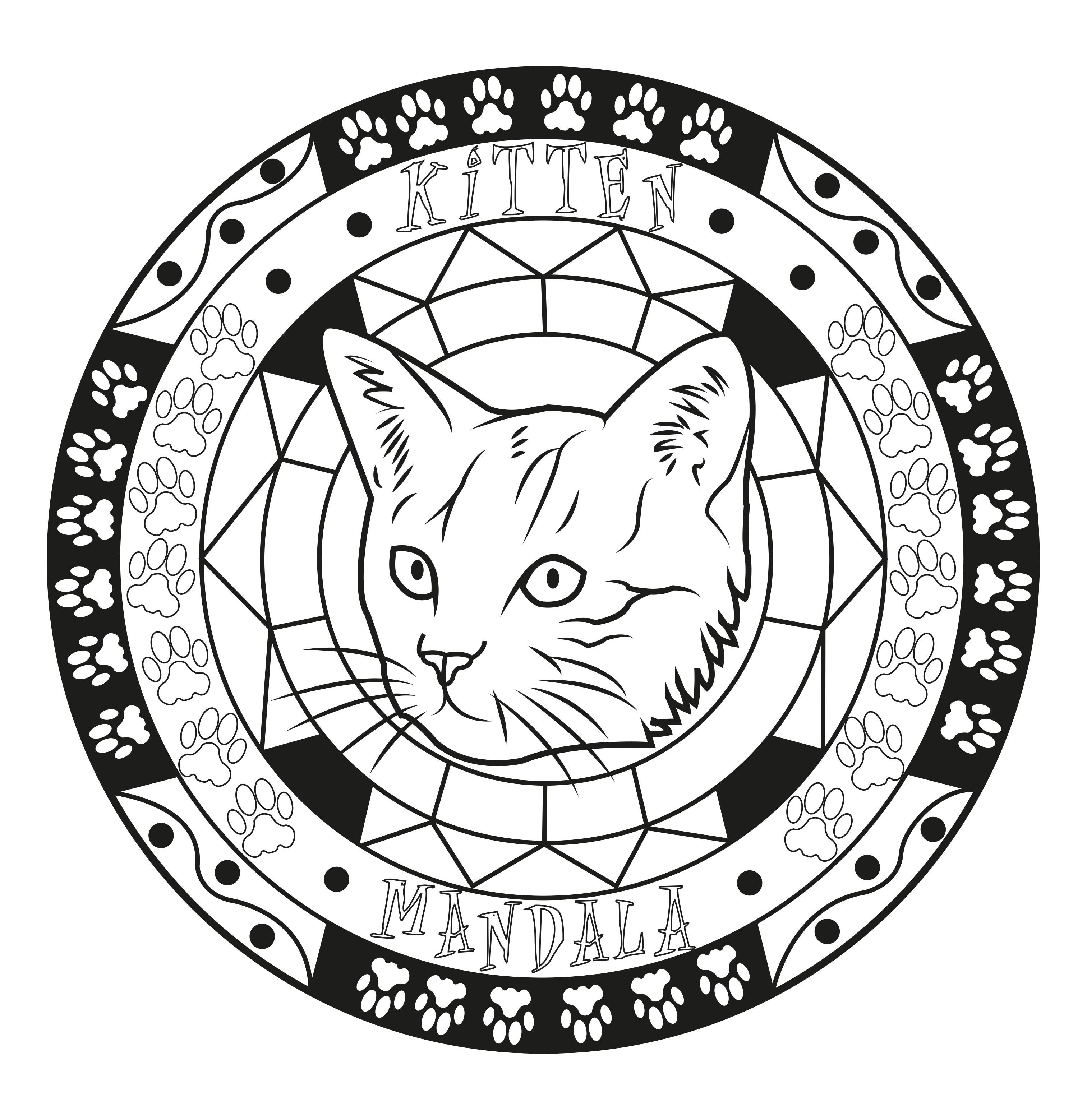 An Original Mandala Coloring Page With A Kitten Head