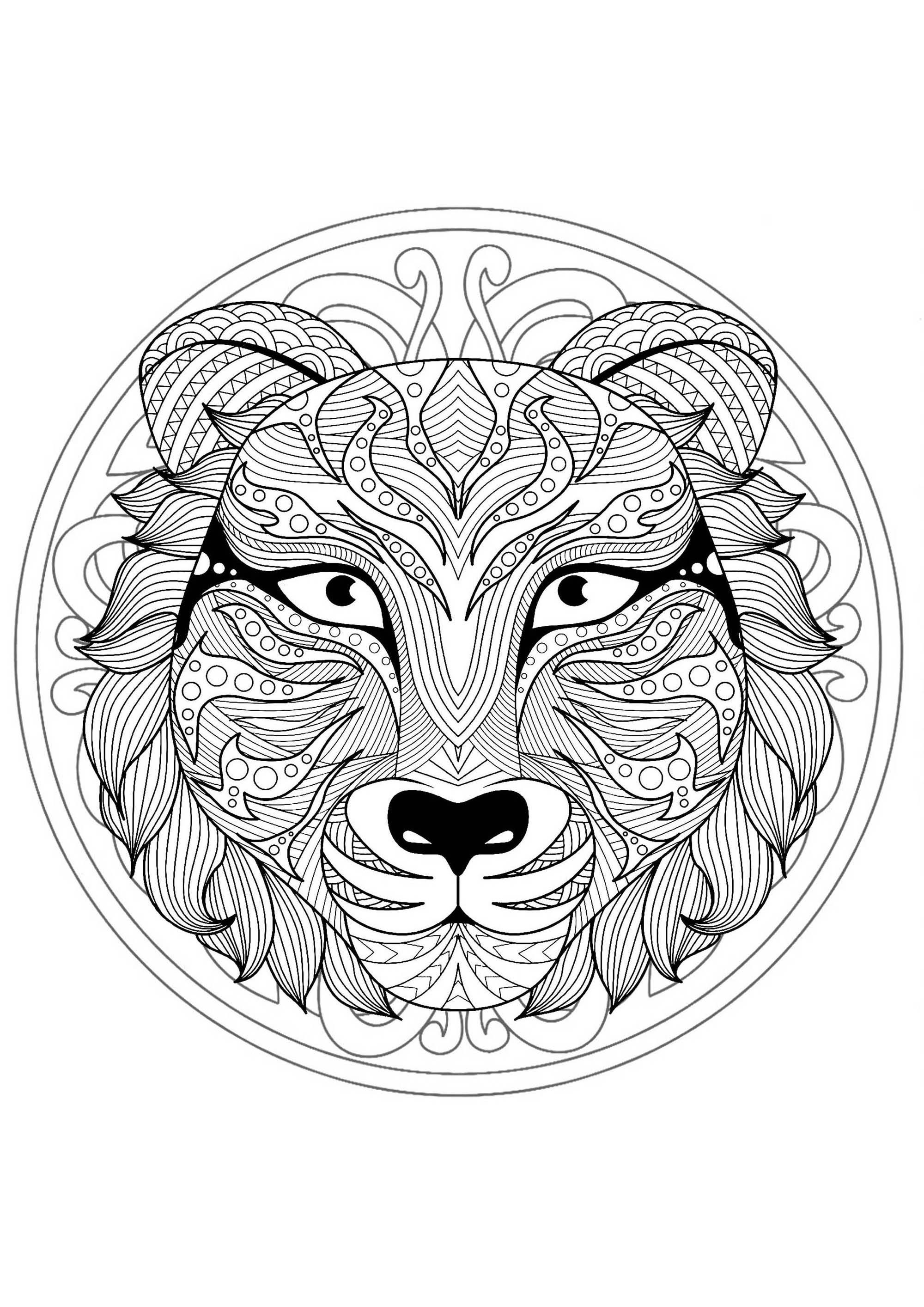 Beautiful Tiger Head Mandala Mandalas With Animals 100