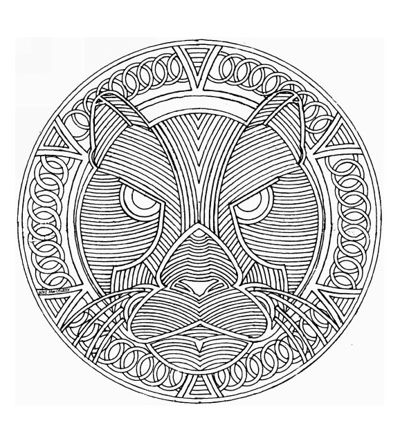 Mandala to color animals free cat