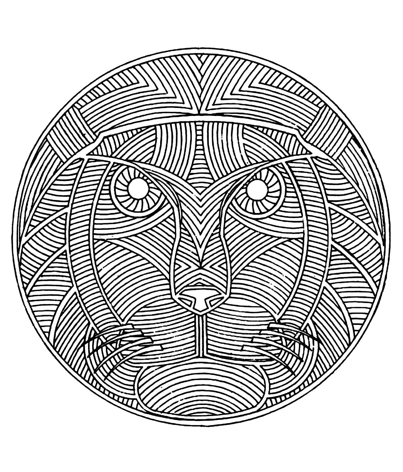 Mandala to color animals free lion mandalas with animals for Lion mandala coloring pages