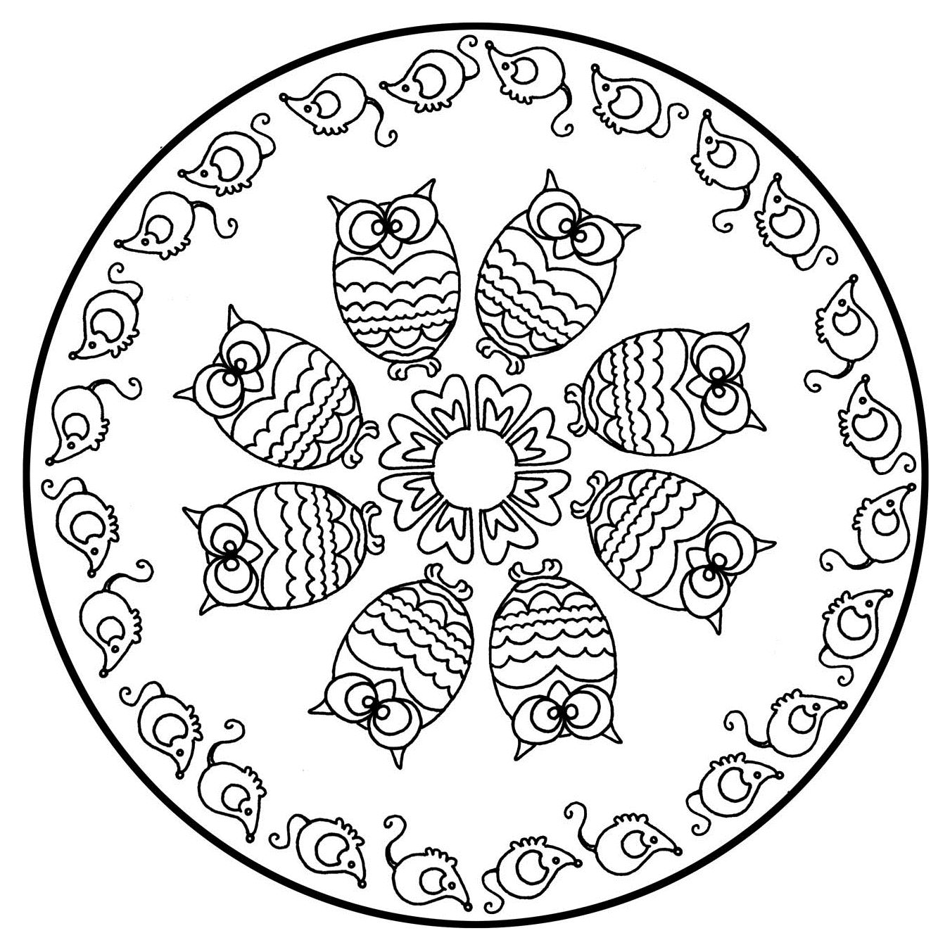Mandala to color animals free owls