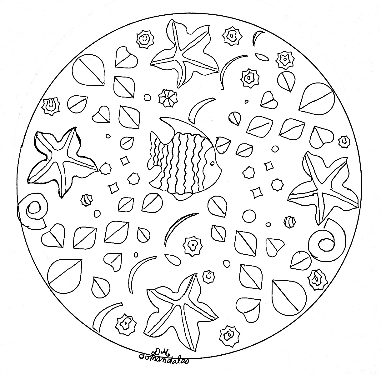 These Aquarium fish are ready to be colored in this incredible Mandala, you can print it and let your creativity guide you.