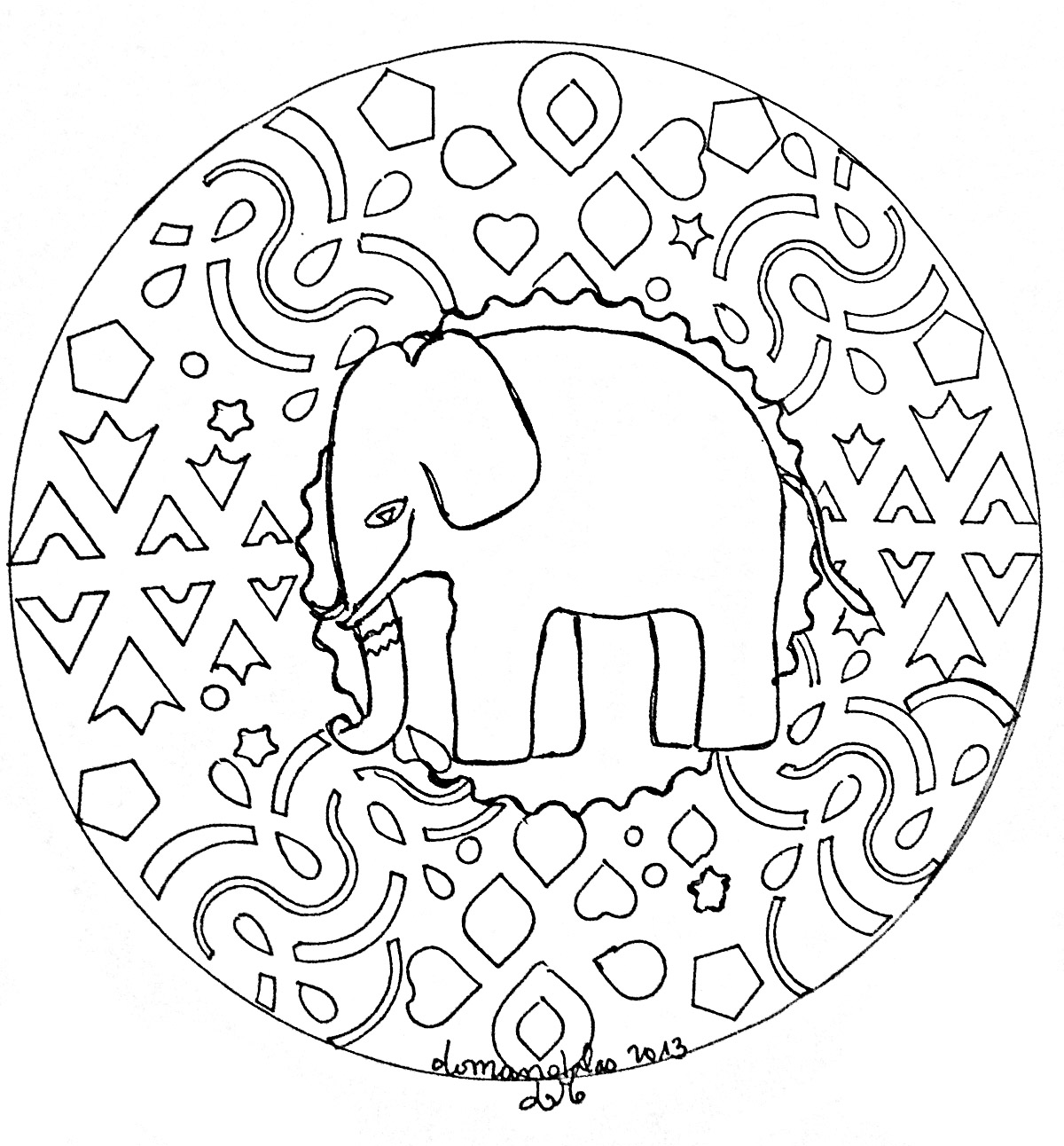 Mandala to print elephant