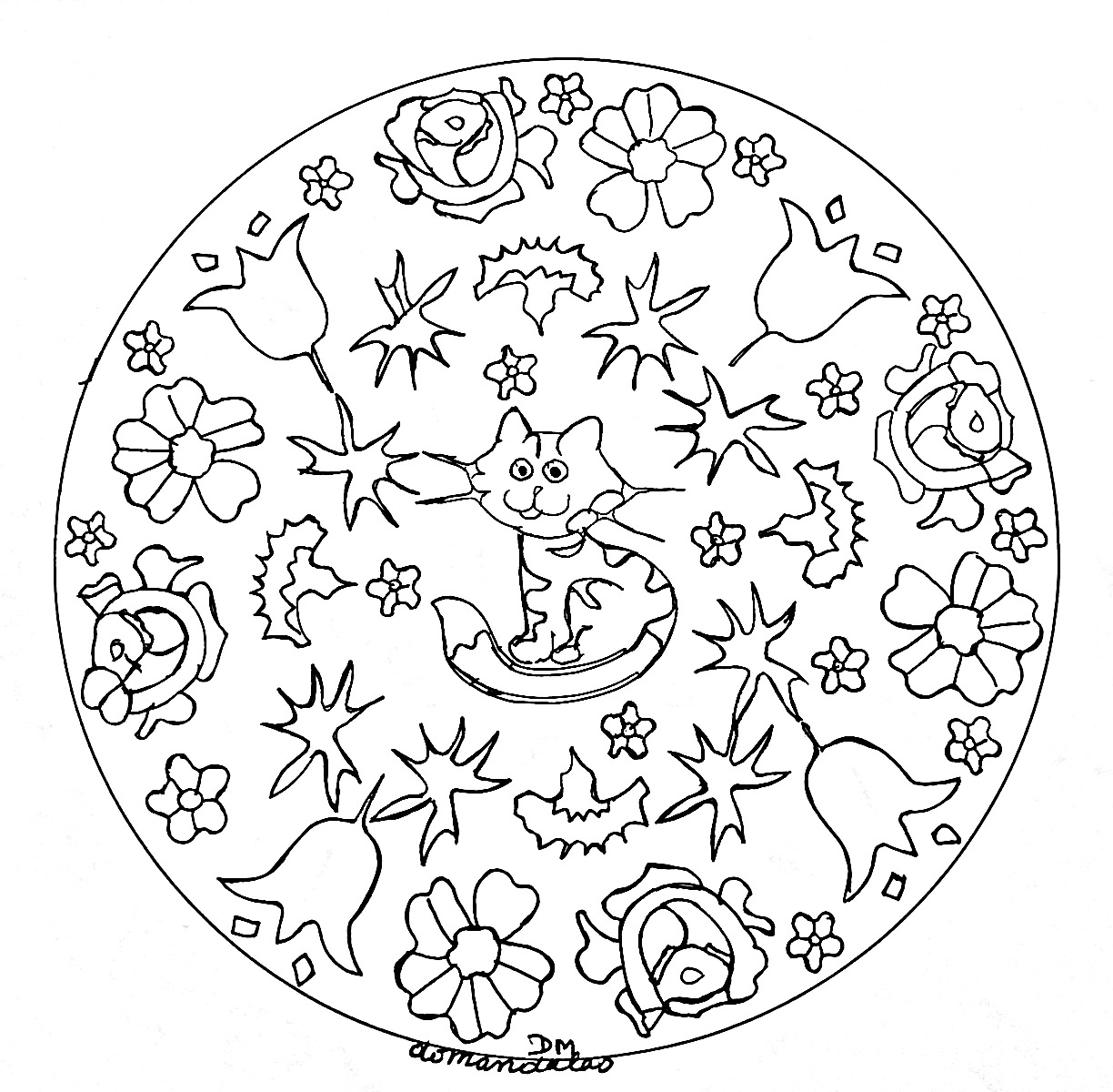These animals are ready to be colored in this incredible Mandala, you can print it and let your creativity guide you.