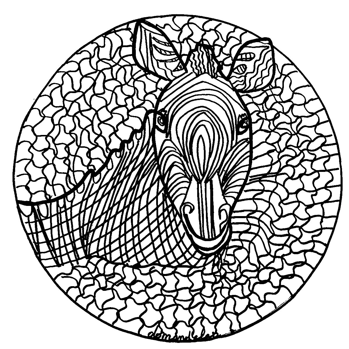 A Mandala featuring a zebra, for those who prefer to color concrete and living elements. Do whatever it takes to get rid of any distractions that may interfere with your coloring.