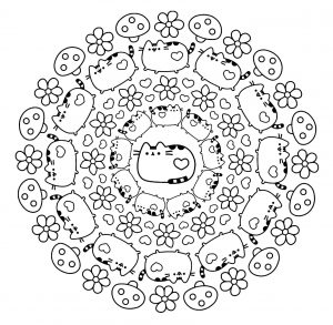 Pusheen cats Mandala