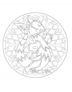 coloring to print mandala dragon 1
