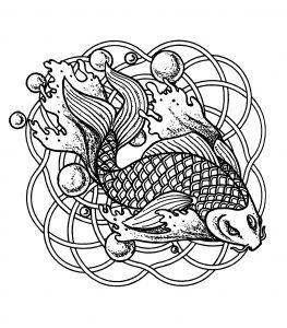 mandala fish and bubbles