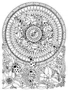 Ladybugs & flowers Mandala