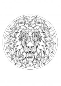 Incredible complex Lion head Mandala