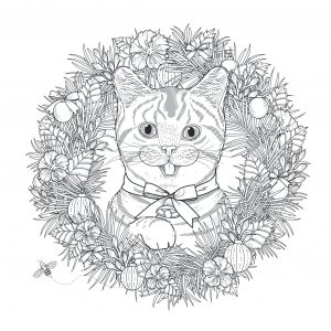 mandala to download cute and funny cat