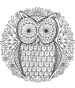 Magical Owl with big eyes Mandala