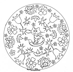 mandala to print little cat and flowers