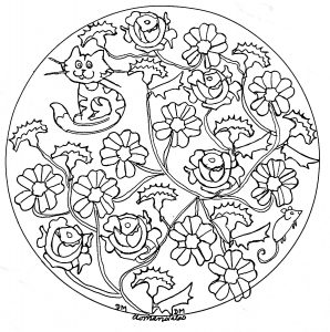 mandala to print roses and cat