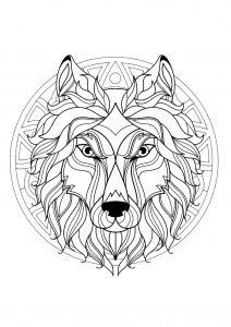 Majestic Wolf head Mandala