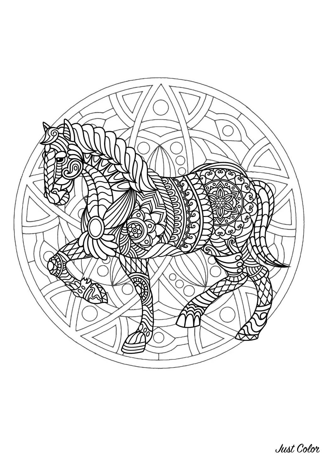 A beautiful Mandala coloring page with a beautiful horse, of great quality and originality. It's up to you to choose the most appropriate colors. You must clear your mind and allow yourself to forget all your worries and responsibilities.