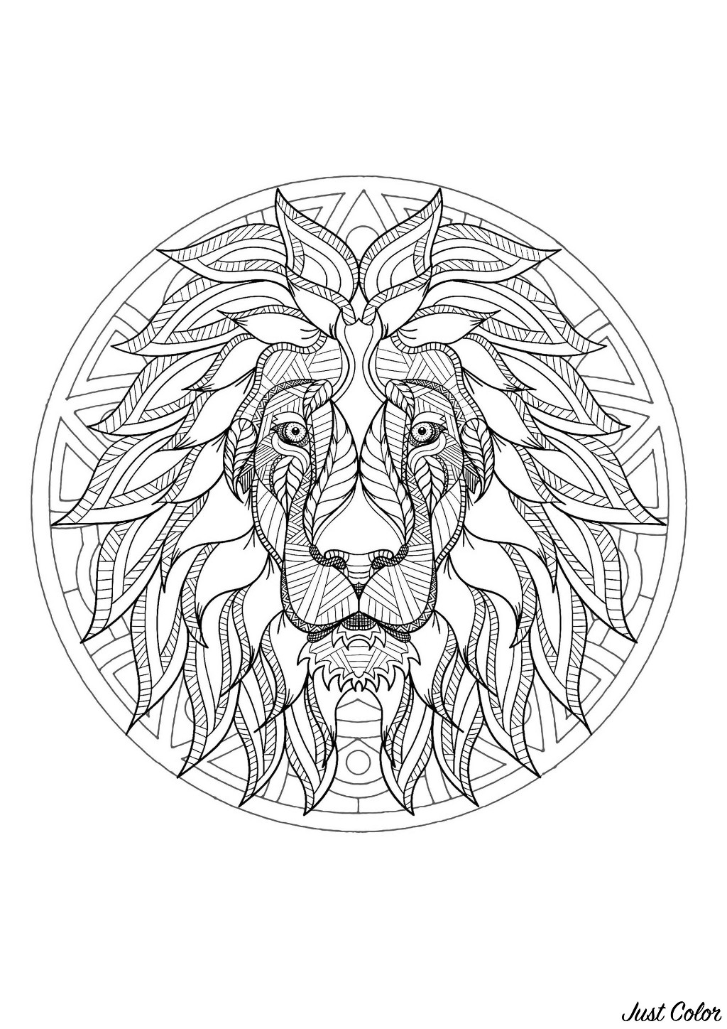 Incredible Complex Lion Head Mandala Mandalas With Animals 100