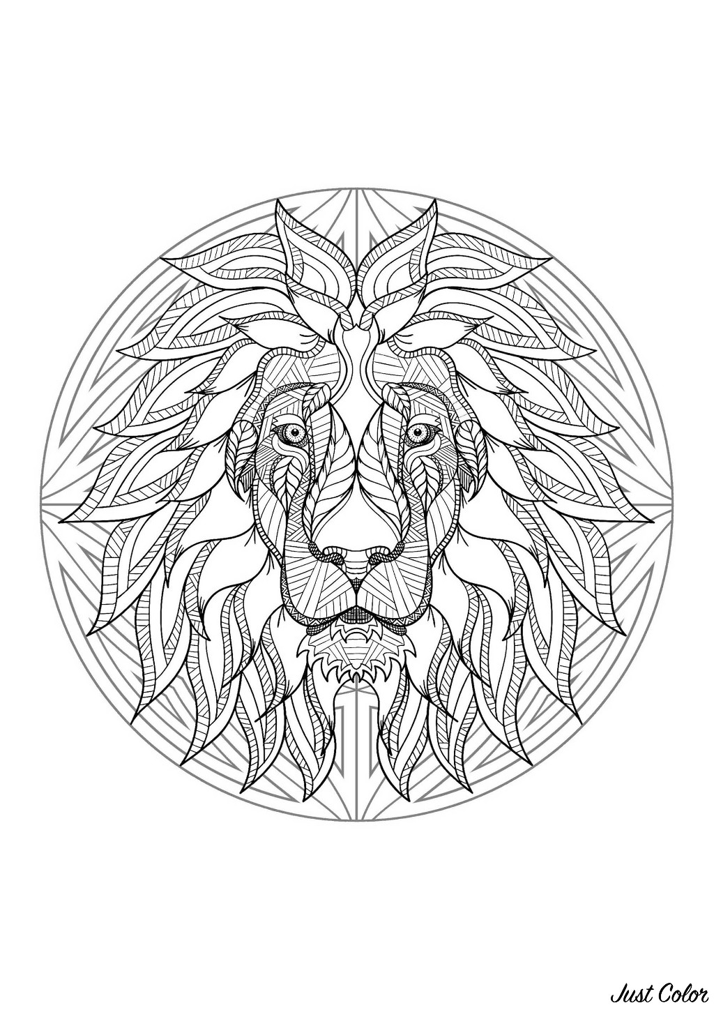 A beautiful Mandala coloring page, of great quality and originality. It's up to you to choose the most appropriate colors to color this lion. You must clear your mind and allow yourself to forget all your worries and responsibilities.