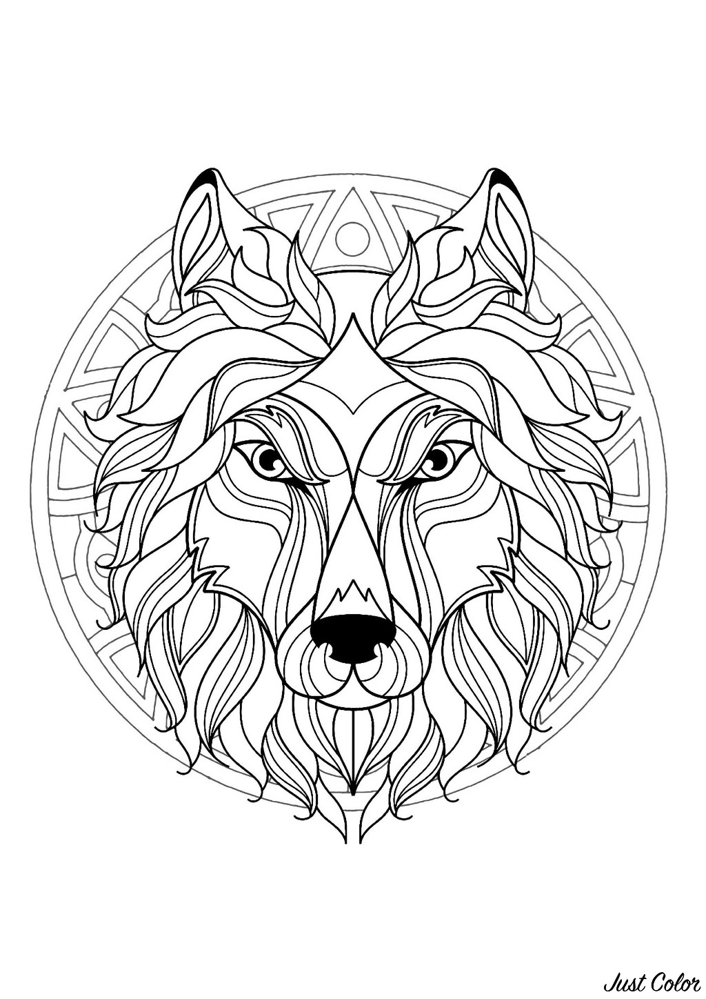 This wolf is ready to be colored in this incredible Mandala, you can print it and let your creativity guide you.
