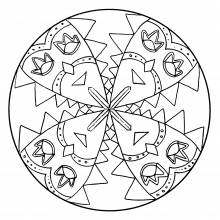 Mandala to color characters carnival