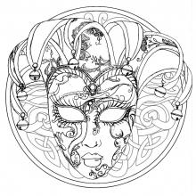 venice-carnival-mask-mandala free to print