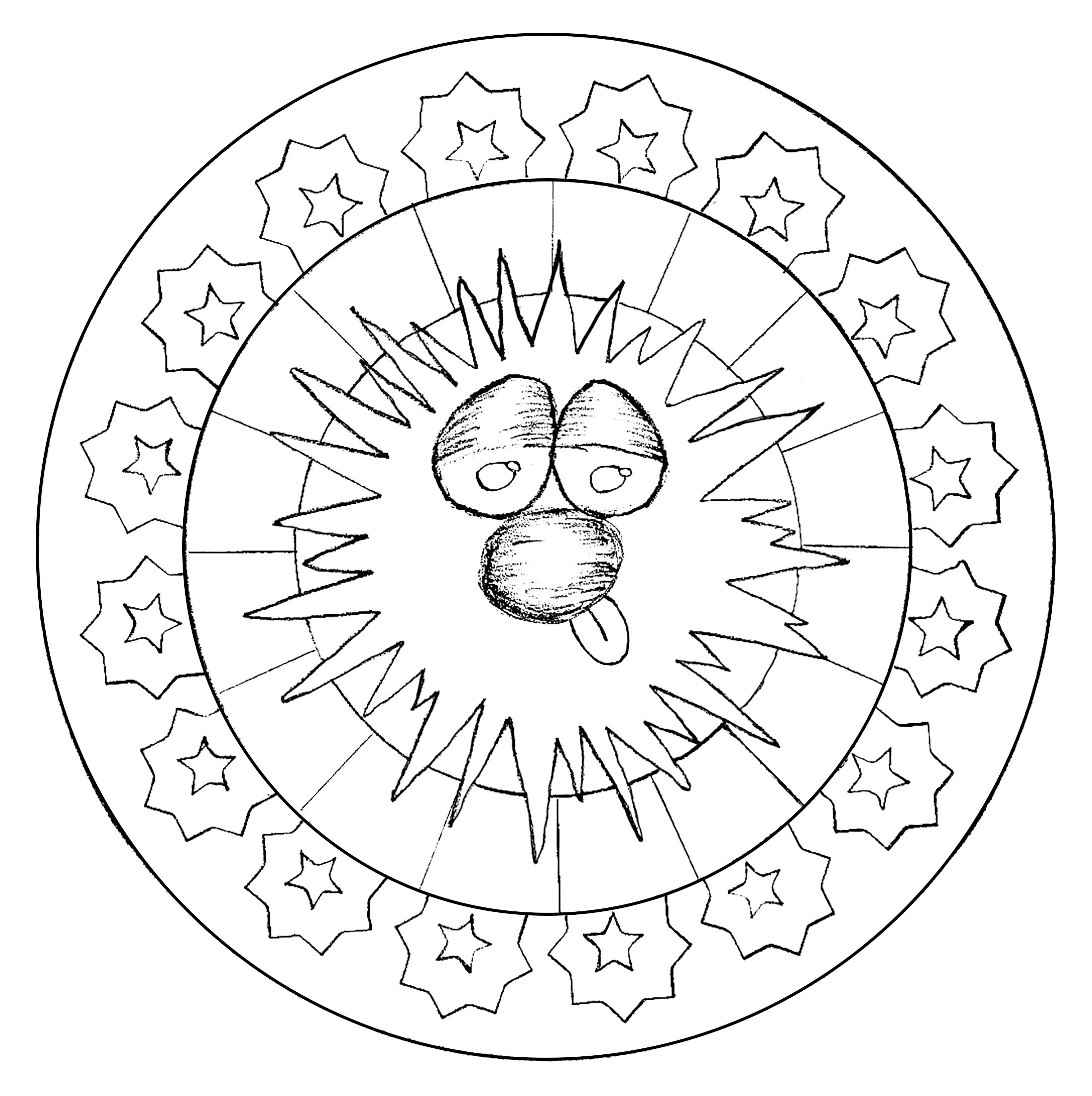 Mandala with funny head (hand drawn) and abstract simple patterns.