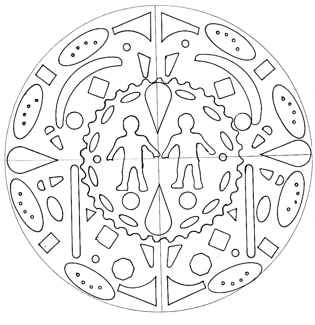 Mandala with a man and a woman , hand drawn. Mandalas offer balancing visual elements, symbolizing unity and harmony.
