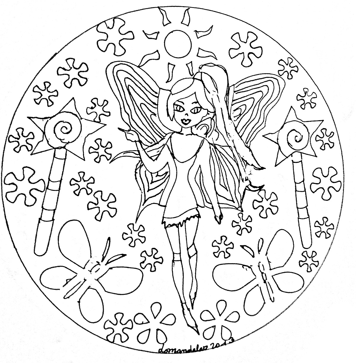 Elegant fairy : hand drawn Mandala