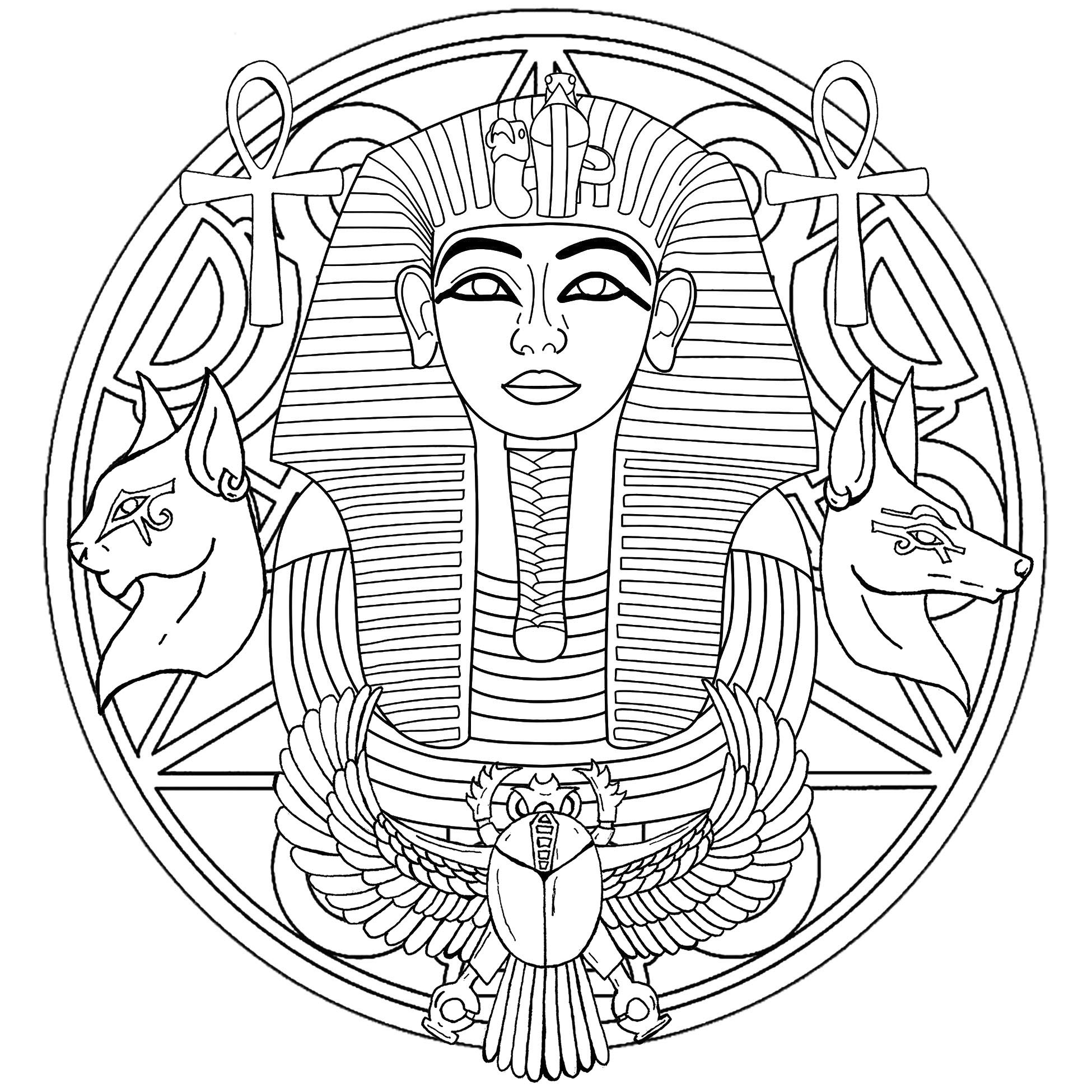 Tutankhamun was an Egyptian pharaoh of the 18th dynasty during the period of Egyptian. Discover a Mandala with his famous mask in the center, and other symbols around. Second version
