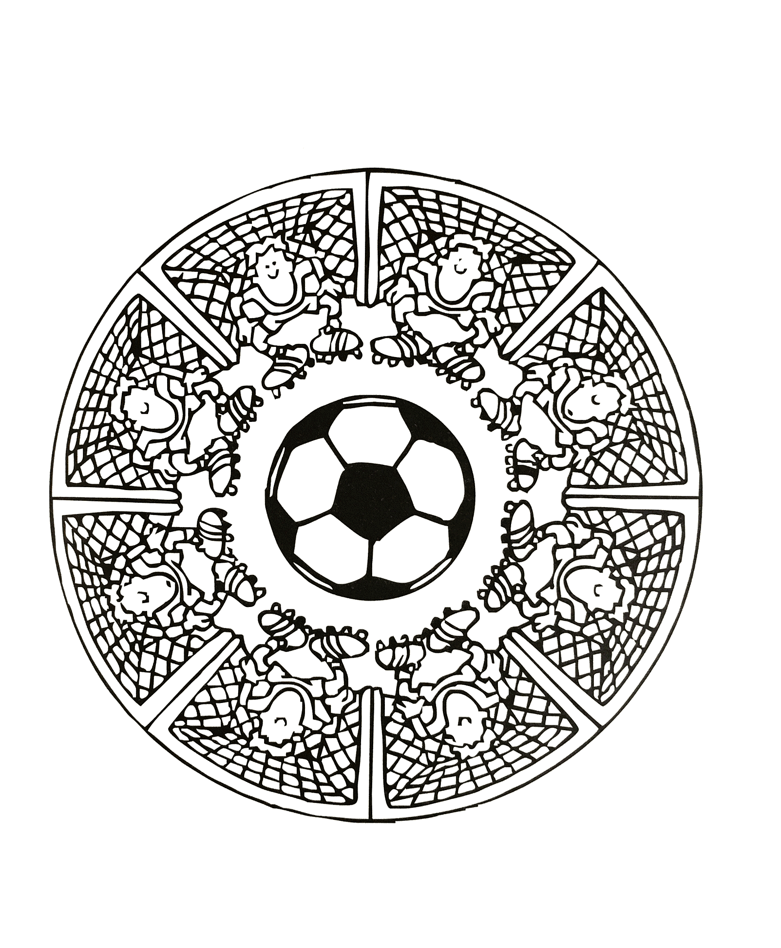 Football Mandala coloring page for beginners. Funny to print and color.