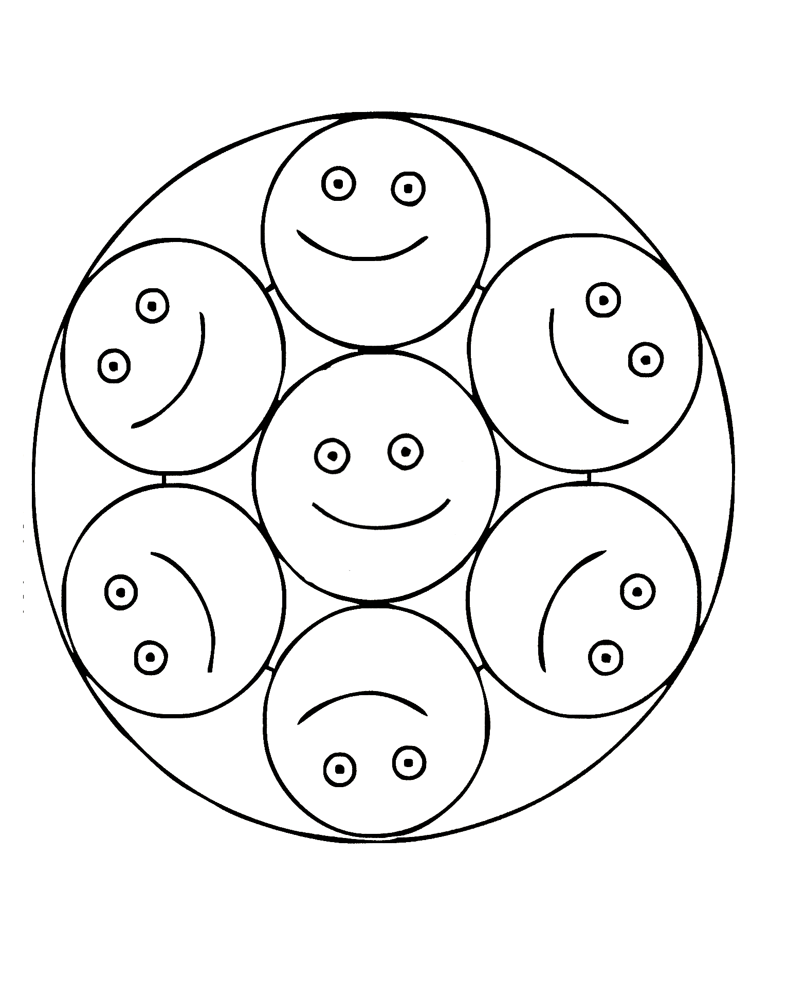 Smiley Mandala Coloring Page For Children